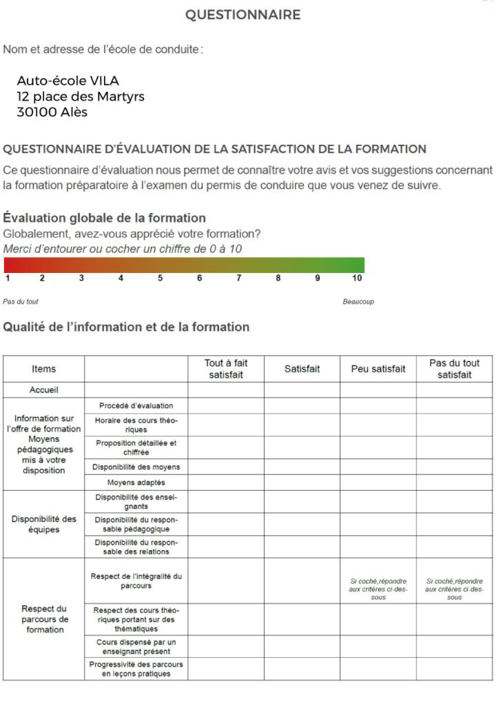 Questionnaire de satisfaction - Auto Ecole Vila